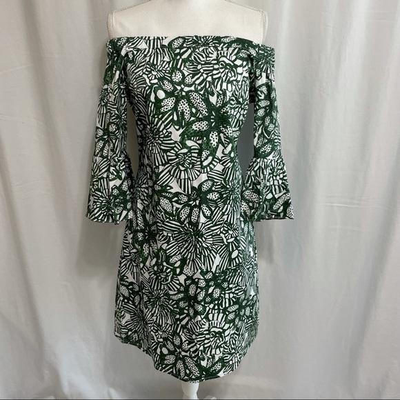 H&M Off Shoulder Floral Shift Dress Bell Sleeves